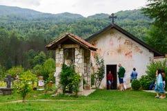 圣尼古拉斯教会和钟楼,修道院Moraca,黑山 免版税库存照片