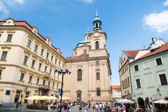 圣尼古拉斯教会在布拉格,捷克共和国 图库摄影