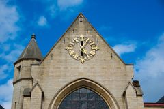 圣尼古拉斯教会在布鲁塞尔,比利时 库存照片