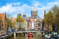 圣尼古拉斯教会在阿姆斯特丹 库存图片