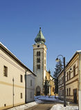 圣尼古拉斯教会在Liptovsky Mikulas 斯洛伐克 库存图片