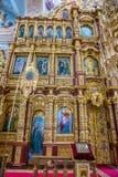 圣尼古拉斯教会的圣障和内部在莫吉廖夫 迟来的 免版税库存照片