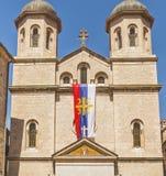 圣尼古拉斯教会的门面在一个夏日在老镇科托尔,黑山 图库摄影