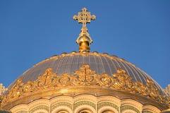 圣尼古拉斯海军大教堂圆顶在Kronstadt。 免版税库存照片