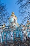 圣尼古拉斯海军大教堂在圣彼德堡 免版税库存照片