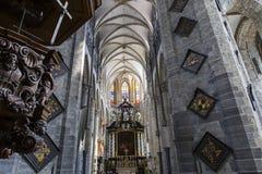 圣尼古拉斯的教会,跟特,比利时内部  免版税图库摄影