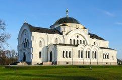 圣尼古拉斯驻军教会在纪念复杂布雷斯特堡垒 库存图片