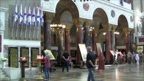 圣尼古拉海军大教堂在从里面thr的Kronstadt 股票录像