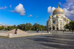 圣尼古拉海军大教堂在Kronstadt 库存照片