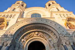 圣尼古拉海军大教堂细节在Kronstadt。 免版税库存图片