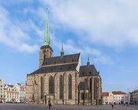 圣巴塞洛缪共和国正方形的,比尔森` s大教堂 库存图片