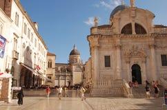 圣布勒斯教会在Luza广场,杜布罗夫尼克,克罗地亚的 免版税库存图片