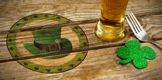圣帕特里克天的综合图象的综合图象与绿色帽子标志的 库存图片