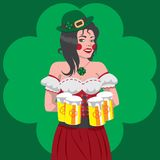 圣帕特里克斯天爱尔兰女孩服务的啤酒的例证 向量例证