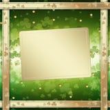 圣帕特里克的天在绿色背景的贺卡 免版税图库摄影