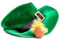 圣帕特里克的天服装帽子妖精绿色白色鸡蛋绿色黄色羽毛isoiated头发 免版税图库摄影