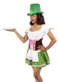 圣帕特里克的天服装的女服务员 库存照片