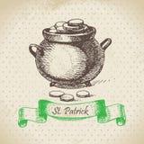 圣帕特里克的天葡萄酒背景 免版税库存照片