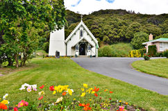 圣帕特里克的教会在Akaroa 库存照片