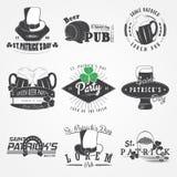 圣帕特里克节集合 爱尔兰运气 详细的元素 印刷标签、贴纸、商标和徽章 库存图片