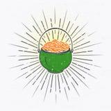 圣帕特里克节集合 爱尔兰运气 详细的元素 印刷标签、贴纸、商标和徽章 图库摄影