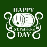 圣帕特里克绿色强麦酒啤酒客栈桶的天标志 库存图片