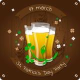 圣帕特里克` s天啤酒党邀请海报 库存图片