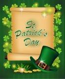 圣帕特里克` s天问候 也corel凹道例证向量 日愉快的patricks st 背景被弄脏的绿色 免版税图库摄影