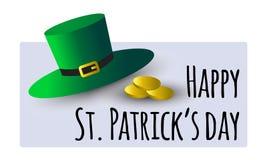圣帕特里克s天与绿色帽子和金黄硬币的贺卡 免版税库存照片
