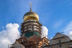 圣建设中安德烈・鲁布烈夫大教堂的片段,莫斯科市政区Ramenki 免版税图库摄影