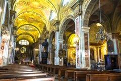 圣弗朗切斯科d'Assisi教会,都灵的内部 库存照片