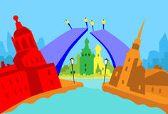 圣彼得堡俄罗斯摘要地平线城市 皇族释放例证