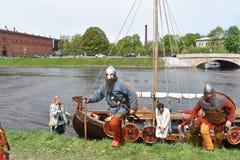 圣彼得堡北欧海盗的艺术家表示法 免版税库存照片