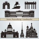 圣彼得堡地标和纪念碑 向量例证