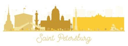 圣彼得堡市地平线金黄剪影 向量例证