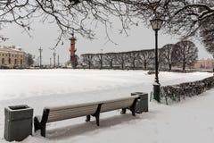 圣彼得堡有船嘴装饰的专栏地标 免版税图库摄影