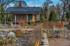 圣彼得堡植物园公共资产的Japanize庭院 库存图片