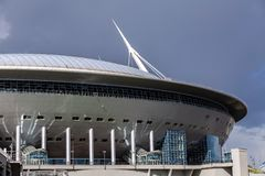 圣彼得堡竞技场在Krestovsky海岛上的橄榄球场 库存图片