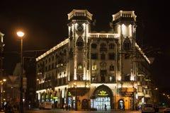 圣彼得堡,俄罗斯- 2014年11月03日:以列弗Tolstoy广场的Andrei命名的剧院的大厦米罗诺夫 免版税图库摄影