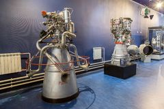 圣彼得堡,俄罗斯- 2017年5月13日:俄国火箭发动机圣彼得堡太空博物馆 免版税库存照片