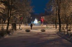 圣彼得堡,俄罗斯- 2014年12月30日:冬天与一个庆祝的雕塑的圣诞夜风景 免版税库存照片