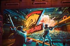 圣彼得堡,俄罗斯- 2017年10月29日:震央柜台罢工:全球性进攻网络体育比赛 队virtus 库存照片