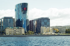 圣彼得堡,俄罗斯2016年9月10日:在河内娃的堤防的商业中心在圣彼德堡,俄罗斯 免版税图库摄影