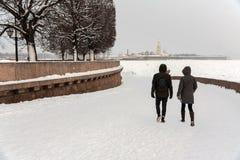 圣彼得堡Vasilievsky海岛唾液 库存照片