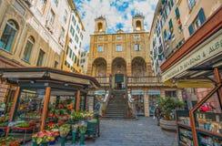 圣彼得罗圣伯多禄在Banchi教会里,在热那亚的历史的中心,赫诺瓦,意大利 图库摄影