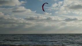 圣彼得Ording海滩的风筝冲浪者  股票视频