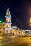 圣彼德堡在涅夫斯基的市杜马为圣诞节勘察照亮 图库摄影
