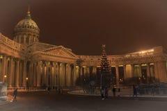 圣彼德堡建筑学  喀山大教堂在冬天 库存图片