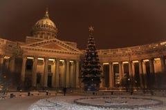 圣彼德堡建筑学  喀山大教堂在冬天 免版税库存照片