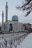 圣彼德堡清真寺在一个冬日 库存照片